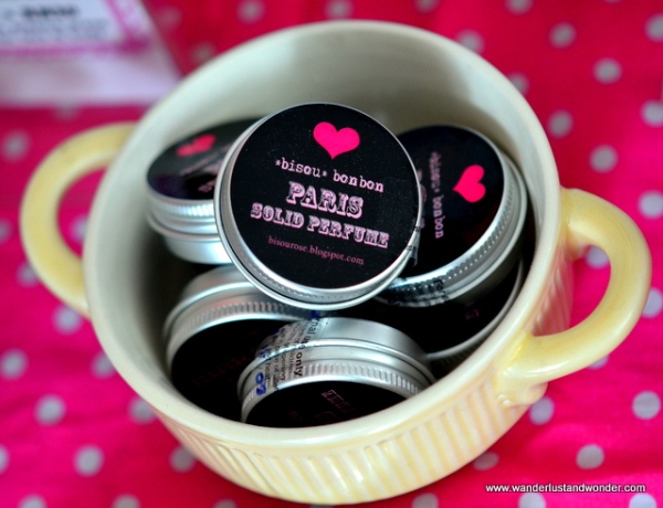 Solid perfume tins from Bisou Bonbon