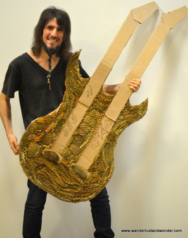 Ron Thal with a fan-made guitar crafted from Durian.  If you're wondering if this thing smelled terrible, it did.