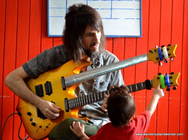 The guitarist was extremely patient with his youngest fans.