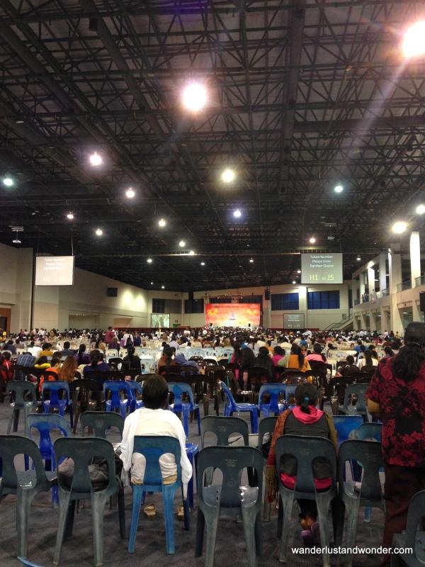 The scene inside the Convention Centre